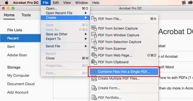 Acrobat DCで複数のPDFファイルを結合01