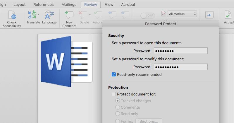 Wordファイルにパスワードを設定する方法