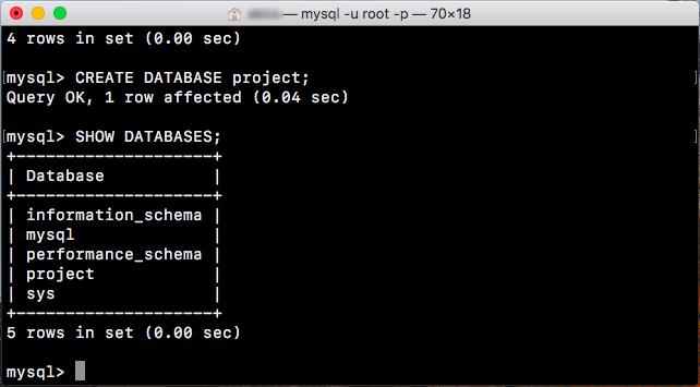 MySQL データベースの作成