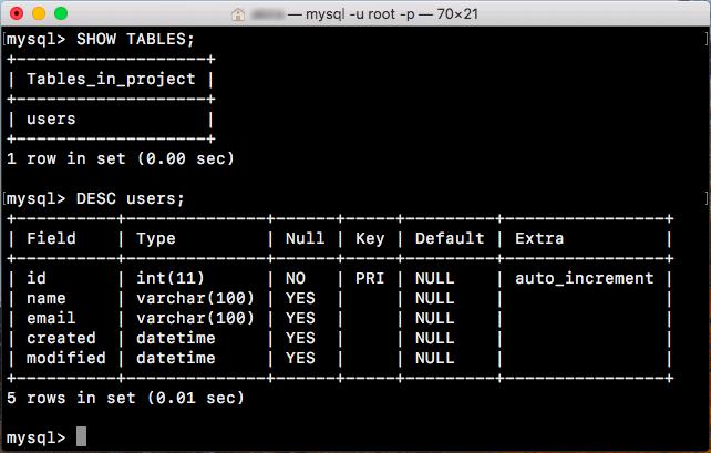 MySQL テーブルの構造を確認