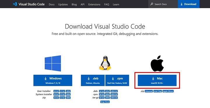 Visual Studio Codeをオフィシャルサイトからダウンロード