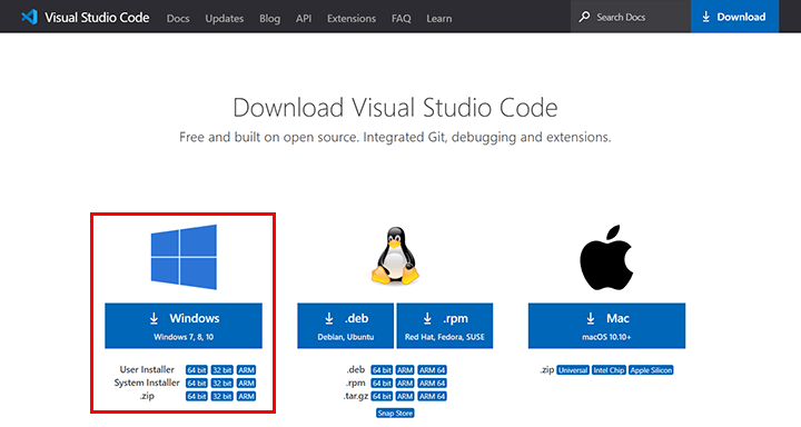 Windows版のVisual Studio Codeをダウンロード