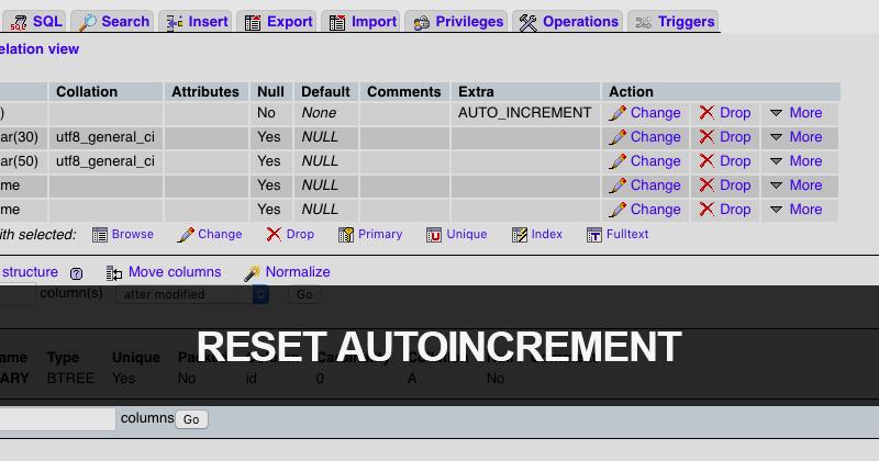 MySQLのデータベースで本番公開前にオートインクリメントの連番をリセットする
