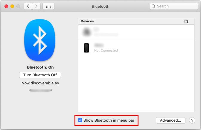 MacでメニューバーにBluetoothを表示