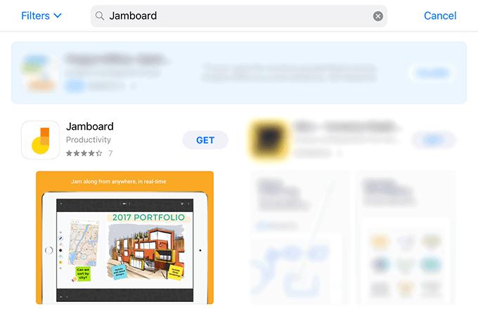 タブレット端末のJamboardアプリ