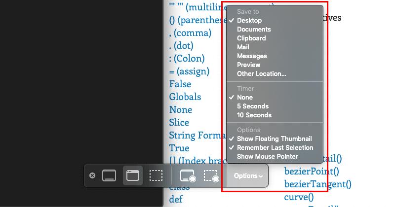 macOSのScreenshotアプリの設定