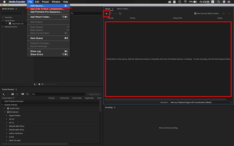 Adobe Media Encoderに動画ファイルをセット