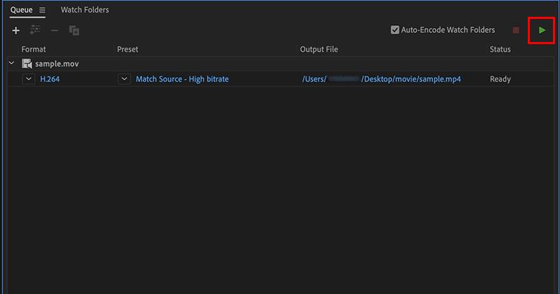 Adobe Media Encoderで動画ファイルをエンコーディング
