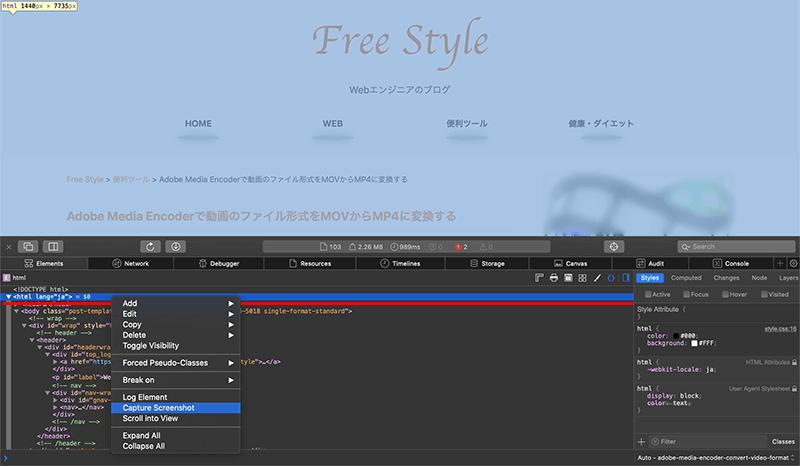 SafariのデベロッパーツールでWebページ全体のスクリーンショットを撮る