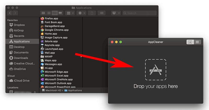 AppCleanerにアンインストールするアプリケーションファイルをドラッグ