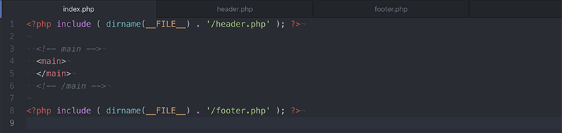 include関数でheader.phpとfooter.phpを読み込む