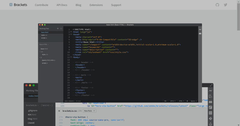 Adobe製の便利なテキストエディタ「Brackets」の導入と初期設定と最初の準備