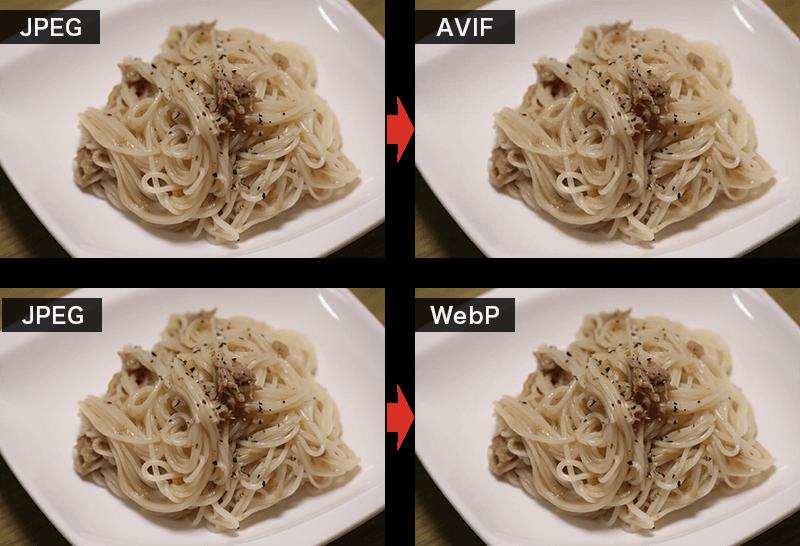JEPGとAVIF、JPEGとWebPの比較