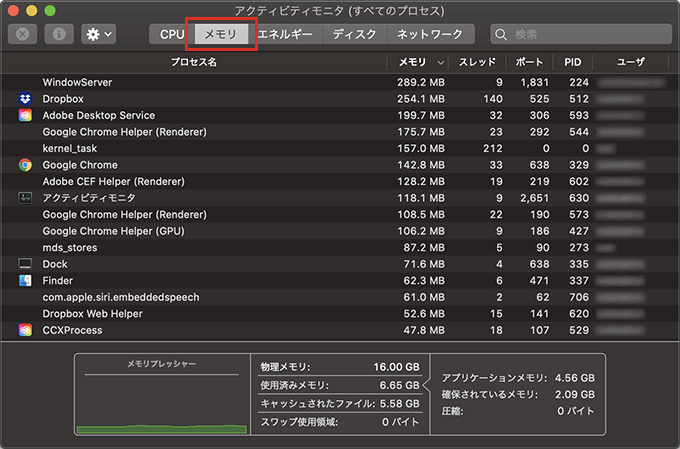 macOSのアクティビティモニタでメモリ使用量を確認