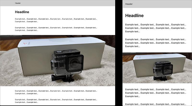 画像や動画のコンテンツ幅を広くするデザイン(PC、SP)