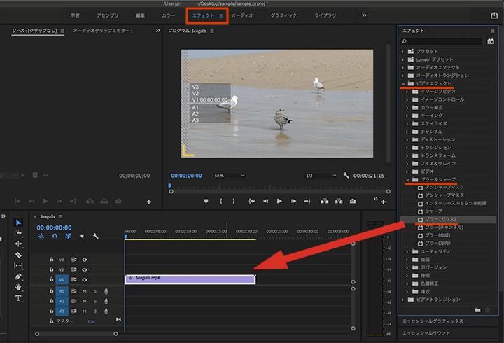 Adobe Premiere Proで動画にブラー(ガウス)のぼかし効果をセット