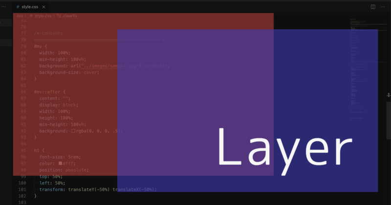 CSSでコンテンツの画像や背景画像に半透明のレイヤーを重ねる方法