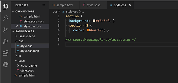 Sassファイルをコンパイルして生成されたcssファイル