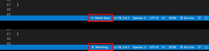Live Sass Compilerで監視を開始・停止