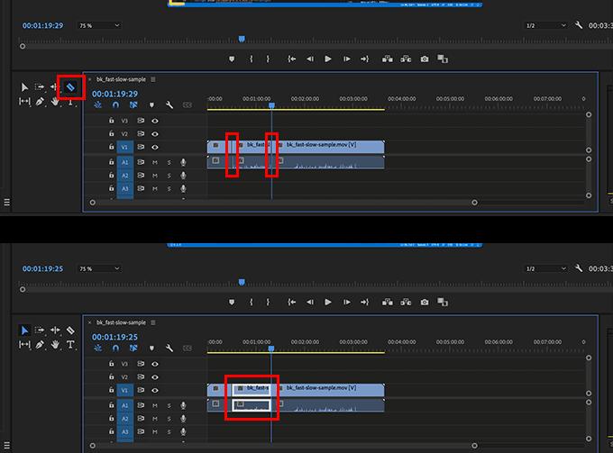 レーザーツールで動画の編集箇所を切り分ける