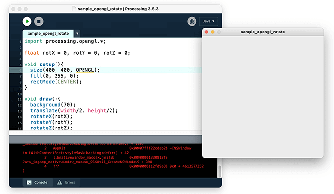 P3DやOpenGLの描画モードで実行画面が表示されない