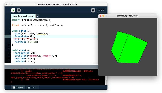 frameRate()関数を設定して3D描画を実装