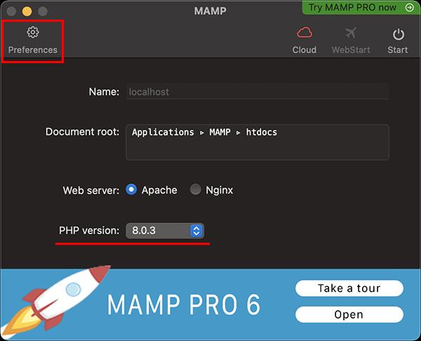 MAMPのPHPのバージョン変更と設定