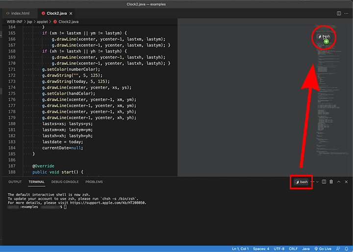VSCodeのターミナルタブをエディタ領域に移動する