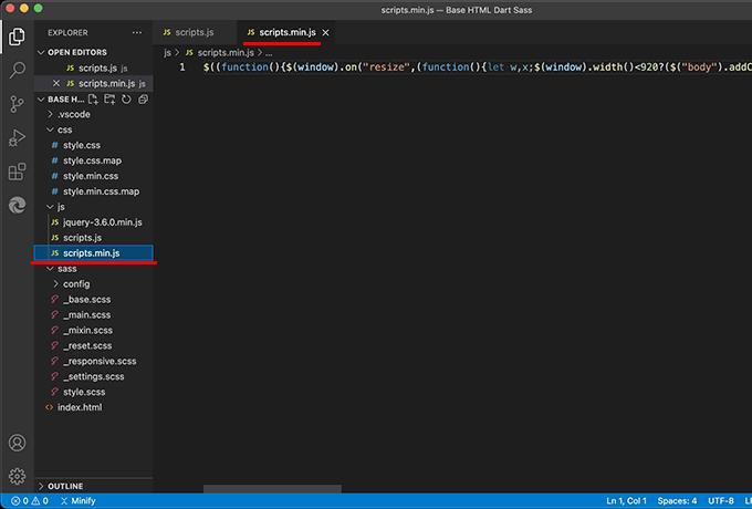 拡張機能「JS & CSS Minifier」で軽量化したJSファイルを生成