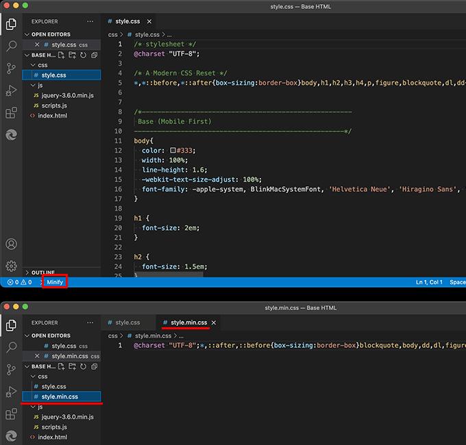 拡張機能「JS & CSS Minifier」で軽量化したCSSファイルを生成