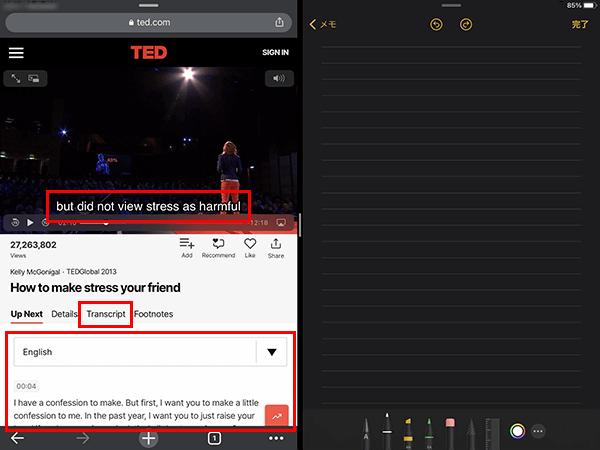 「Transcript」を選択して、動画の翻訳を映像に合わせて見る